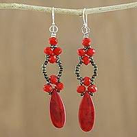 Calcite dangle earrings, 'Exciting Adventure in Red' - Red Calcite and Glass Dangle Earrings from Thailand