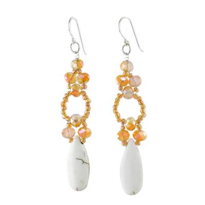 White Calcite and Glass Dangle Earrings from Thailand