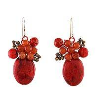 Calcite and quartz cluster earrings, 'Bright Holiday Dreams' - Modern Thai Cluster Earrings with Red Quartz and Calcite