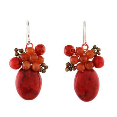 Modern Thai Cluster Earrings with Red Quartz and Calcite