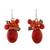 Calcite and quartz cluster earrings, 'Bright Holiday Dreams' - Modern Thai Cluster Earrings with Red Quartz and Calcite thumbail