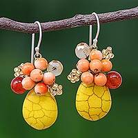 Calcite cluster earrings, 'Yellow Holiday Dreams' - Yellow Calcite Handcrafted Modern Thai Cluster Earrings
