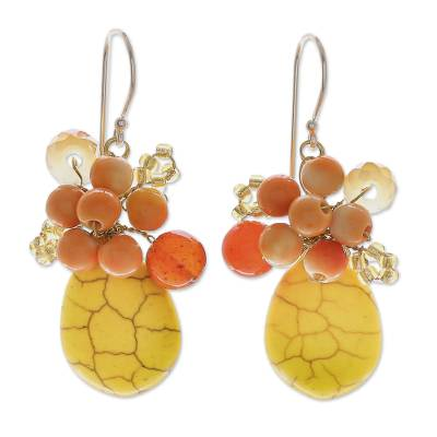 Yellow Calcite Handcrafted Modern Thai Cluster Earrings