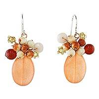 Quartz and calcite cluster earrings, 'Ginger Holiday Dreams' - Handcrafted Quartz and Calcite Thai Cluster Earrings