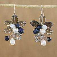 Smoky quartz and cultured pearl dangle earrings, 'Elegant Flora'
