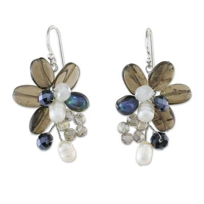 Smoky quartz and cultured pearl dangle earrings, 'Elegant Flora' - Smoky Quartz and Cultured Pearl Earrings from Thailand
