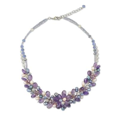 Amethyst and Cultured Pearl Beaded Necklace from Thailand
