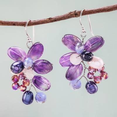 Amethyst and cultured pearl dangle earrings, 'Elegant Flora' - Amethyst and Cultured Pearl Earrings from Thailand