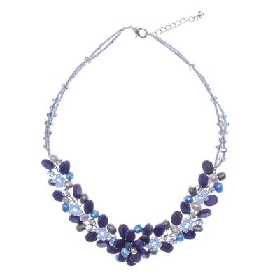 Lapis lazuli and cultured pearl beaded necklace, 'Elegant Flora' - Lapis Lazuli and Cultured Pearl Necklace from Thailand