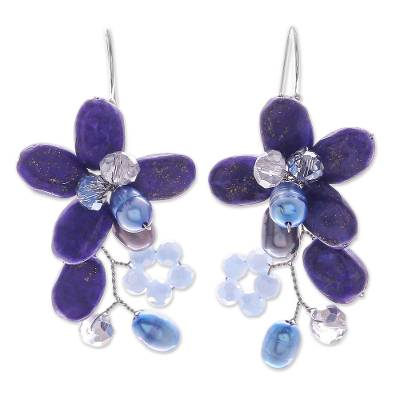 Lapis Lazuli and Cultured Pearl Earrings from Thailand