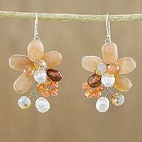 Quartz and cultured pearl dangle earrings, 'Elegant Flora'