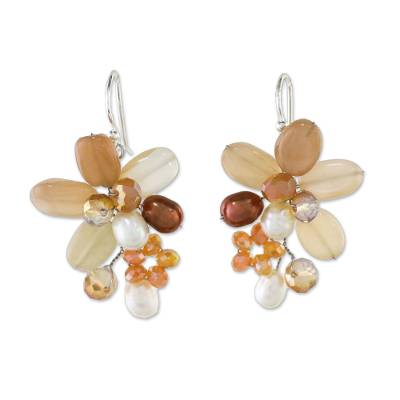Quartz and Cultured Pearl Dangle Earrings from Thailand