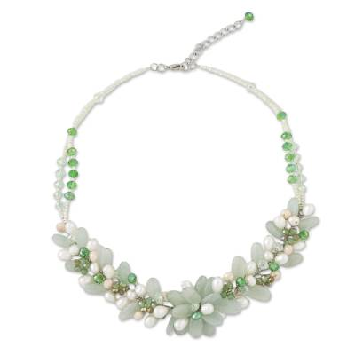 Green Quartz and Cultured Pearl Necklace from Thailand