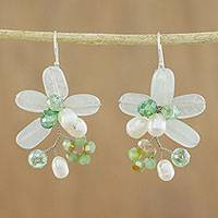 Quartz and cultured pearl dangle earrings, 'Elegant Flora in Green' - Green Quartz and Pearl Dangle Earrings from Thailand