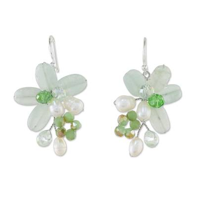 Green Quartz and Pearl Dangle Earrings from Thailand