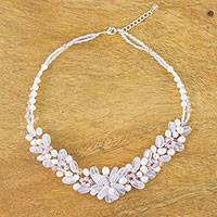 Featured review for Rose quartz and cultured pearl beaded necklace, Elegant Flora