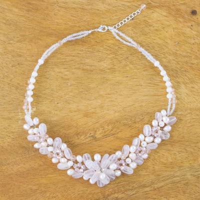 Rose quartz and cultured pearl beaded necklace, 'Elegant Flora' - Rose Quartz and Cultured Pearl Beaded Necklace from Thailand