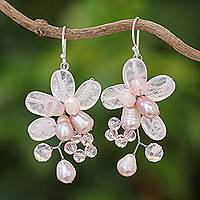 Rose quartz and cultured pearl dangle earrings, 'Elegant Flora' - Rose Quartz and Cultured Pearl Dangle Earrings from Thailand