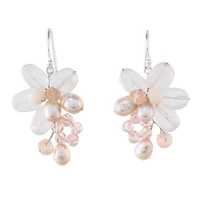 Rose Quartz and Cultured Pearl Dangle Earrings from Thailand