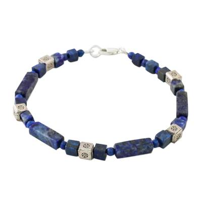 Lapis lazuli beaded bracelet, 'Indigo Dream' - Lapis Lazuli and Silver Beaded Bracelet from Thailand