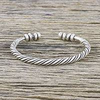 Sterling silver cuff bracelet, 'Hill Tribe Rope' - Handmade Sterling Silver Thai Hill Tribe Cuff Bracelet