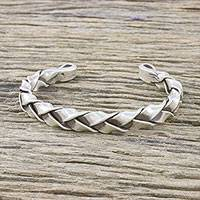 Sterling silver cuff bracelet, 'Braid of Ribbons' - Handmade Sterling Silver Thai Hill Tribe Cuff Bracelet