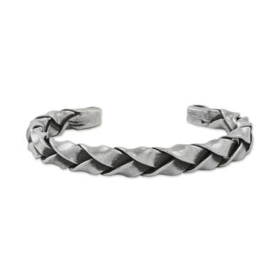 Sterling silver cuff bracelet, 'Braid of Ribbons' - Handmade Sterling Silver Thai Hill Tribe Cuff Bracelet