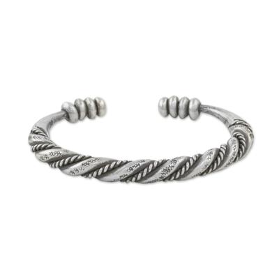 Sterling silver cuff bracelet, 'Lanna Beauty' - Handmade Sterling Silver Thai Hill Tribe Cuff Bracelet