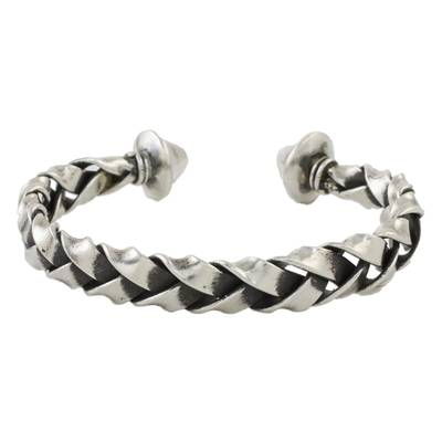 Sterling silver cuff bracelet, 'Ceriy Strength' - Handmade Sterling Silver Thai Hill Tribe Cuff Bracelet