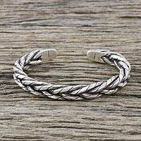 Sterling silver cuff bracelet, 'Chiang Mai Signature' - Handmade Sterling Silver Thai Hill Tribe Cuff Bracelet