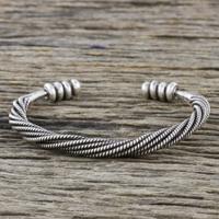 Sterling silver cuff bracelet, 'Serene Wave' - Handmade Sterling Silver Thai Hill Tribe Cuff Bracelet