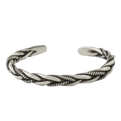 Sterling silver cuff bracelet, 'Lanna Allure' - Handmade Sterling Silver Thai Hill Tribe Cuff Bracelet