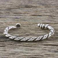 Sterling silver cuff bracelet, 'Lanna Flora' - Handmade Sterling Silver Thai Hill Tribe Cuff Bracelet