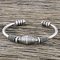 Sterling silver cuff bracelet, 'Hill Tribe Elegance' - Handmade Sterling Silver Thai Hill Tribe Cuff Bracelet