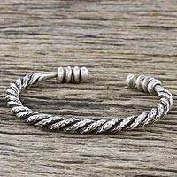 Sterling silver cuff bracelet, 'Chiang Mai Rope' - Handmade Sterling Silver Thai Hill Tribe Cuff Bracelet