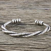 Sterling silver cuff bracelet, 'Lanna Waves' - Handmade Sterling Silver Thai Hill Tribe Cuff Bracelet