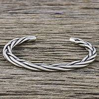 Sterling silver cuff bracelet, 'Nature's Braid' - Handmade Sterling Silver Thai Hill Tribe Cuff Bracelet
