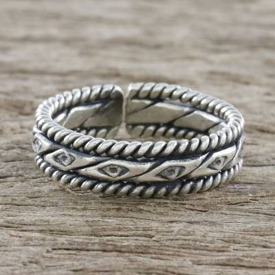 Sterling silver wrap ring, 'Hill Tribe Watcher' - Handmade Unisex Sterling Silver Wrap Ring from Thailand