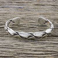 Sterling silver cuff bracelet, 'Braided Bliss' - Handmade Sterling Silver Thai Hill Tribe Cuff Bracelet