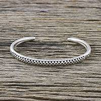 Sterling silver cuff bracelet, 'Hill Tribe Signature'