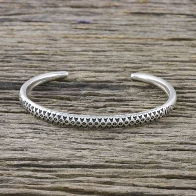 Sterling silver cuff bracelet, Hill Tribe Signature