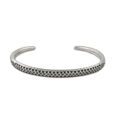 Sterling silver cuff bracelet, 'Hill Tribe Signature' - Handmade Sterling Silver Thai Hill Tribe Cuff Bracelet