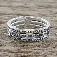 Sterling silver wrap ring, 'Mark of Lanna' - Handmade Sterling Silver Thai Hill Tribe Geometric Wrap Ring