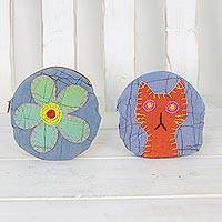 Batik cotton coin purses, 'Floral Cat' (pair) - Two Batik Cat-Themed and Floral Coin Purses from Thailand