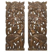 Teakwood relief panel, 'Elephant and Banana' (pair) - Artisan Handmade Set of 2 Teakwood Wall Relief Panels
