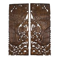 Teakwood relief panels, 'Peacock Harmony' (pair) - Artisan Handmade Teakwood Wall Relief Panels Peacock