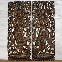 Teakwood relief panels, 'Thailand Dance' (pair) - Artisan Crafted Hand Carved Wall Relief Teakwood Panels