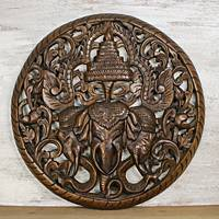 Teakwood wall relief panel, 'Elephant Triplets' - Erawan Elephant Wall Relief Panel Hand Carved Teakwood
