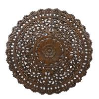 Teakwood relief panel, 'Wheel of Nature' - Handmade Artisan Crafted Teakwood Circular Wall Relief Panel