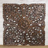 Teakwood relief panel, 'Square Flower' - Handmade Artisan Crafted Teakwood Wall Relief Panel Thailand